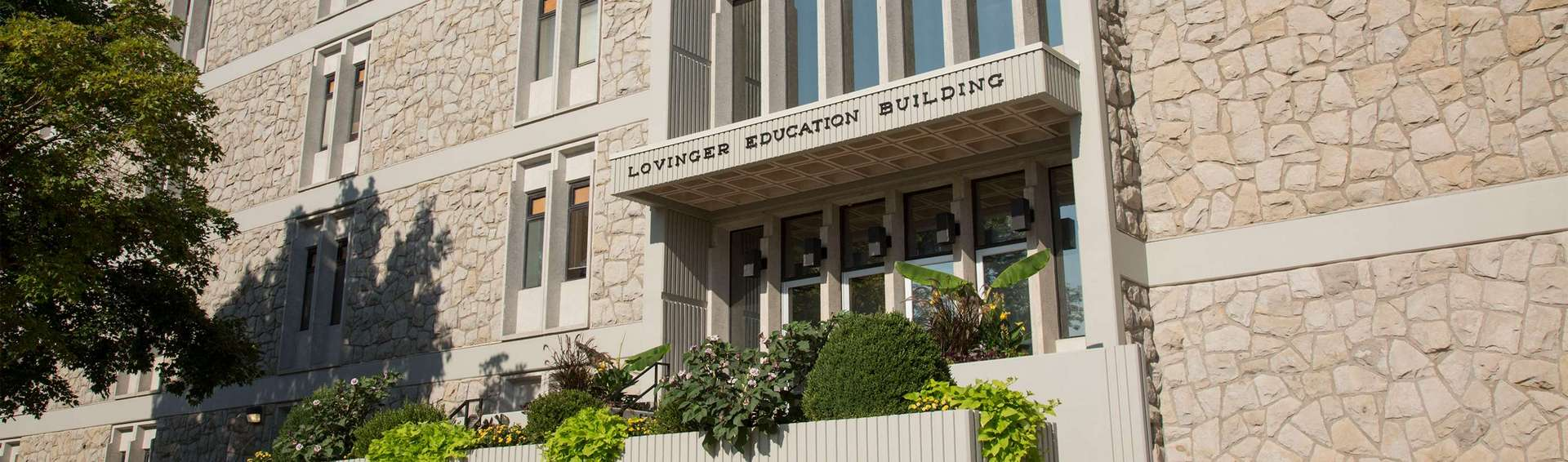 Exterior view of the Lovinger Education Building.