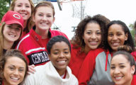 Group of smiling UCM students wearing University apparel
